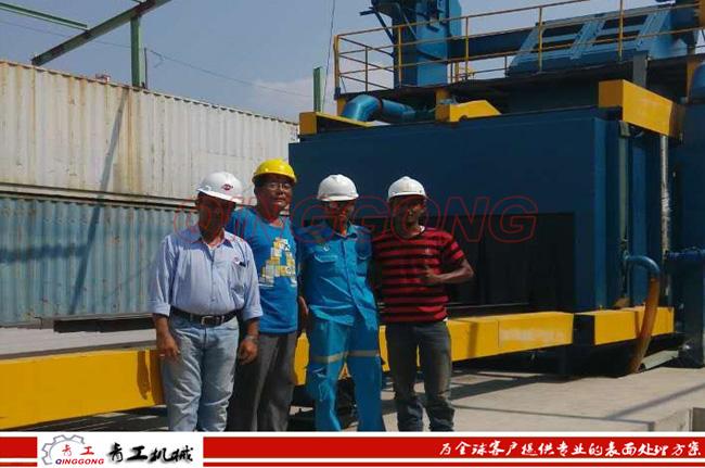 印尼钢结构抛丸机安装现场